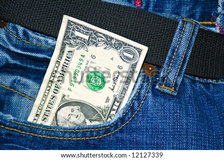 Money in a pocket - stock photo