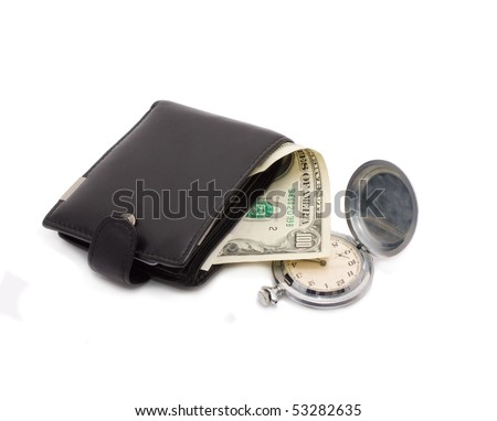Money in a wallet and clock. Isolated on white