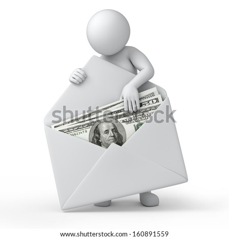 money in an envelope, 3d human and money. dollar version, 3d illustration with work path - stock photo