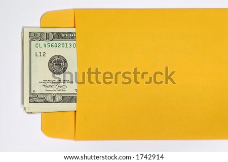 Money in an Envelope. Isolated on White. - stock photo
