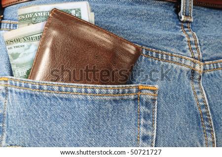 Money in back pocket. - stock photo