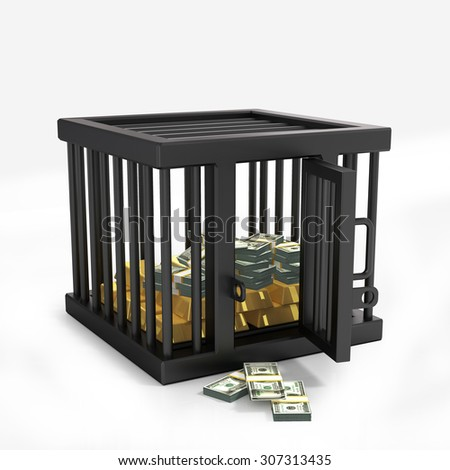 Money in cage - stock photo