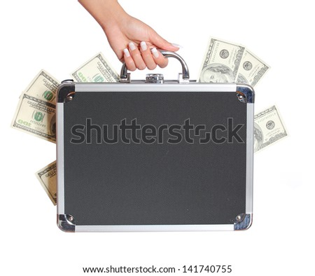 money in case. female hand holding a suitcase with dollars bills, isolated on white - stock photo
