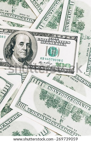 Money in dollars closeup, one hundred dollars banknotes - stock photo