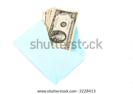 Money in envelope, symbolizes gift, cash delivery. Conceptually useful for many representations. - stock photo