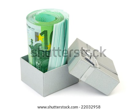 Money in gift box isolated on white background - stock photo
