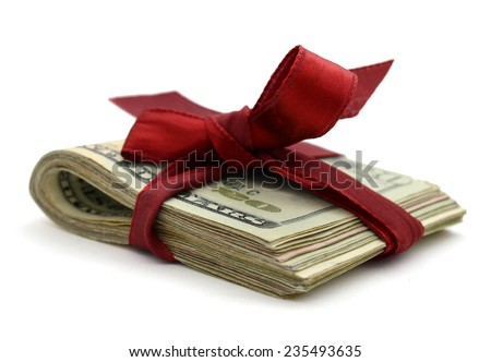 Money in gifts - stock photo