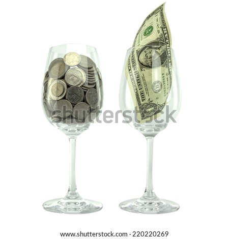 money in glass, Thai coin in a glass of water, USA one dollar bill in a glass, currency, exchange rate, business, investment, trade, inflation,deflation - stock photo