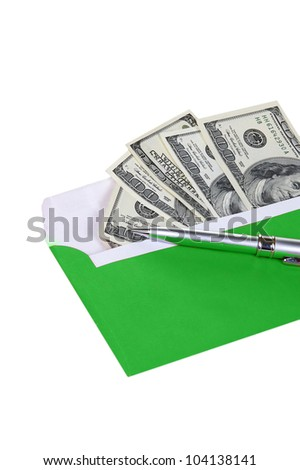 money in green envelope with metal pen isolated on white background