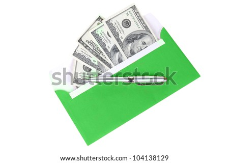 money in green post envelope with metal pen isolated on white background