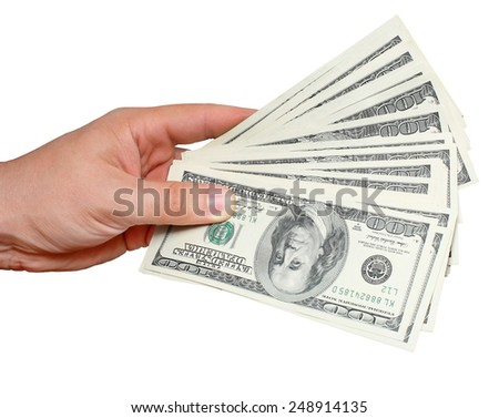 Money in hand - stock photo