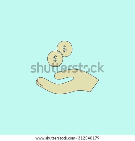 Money in hand. Flat simple line icon. Retro color modern illustration pictogram. Collection concept symbol for infographic project and logo - stock photo