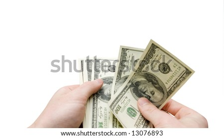 Money in hand  isolated on white