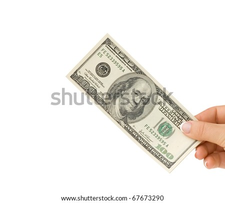Money in hand, isolated on white background - stock photo