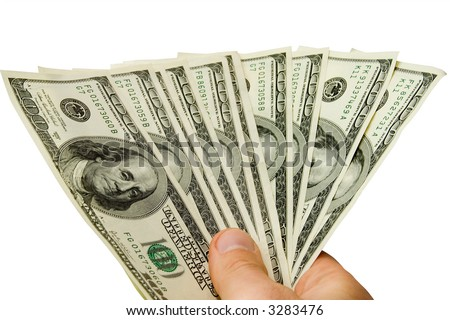 Money in hand isolated on white (contains clipping path)