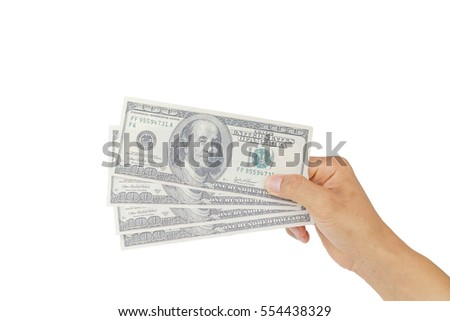 money in hand on white background