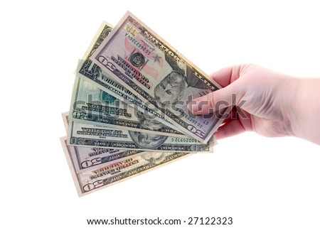 Money in hands isolated