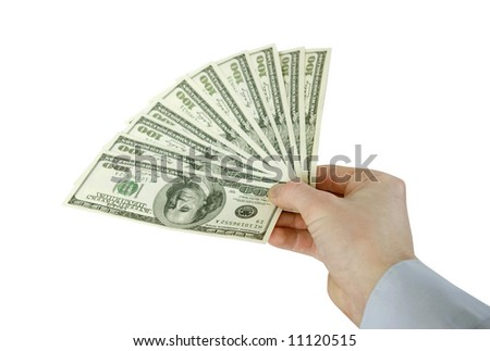 Money in hands isolated on white