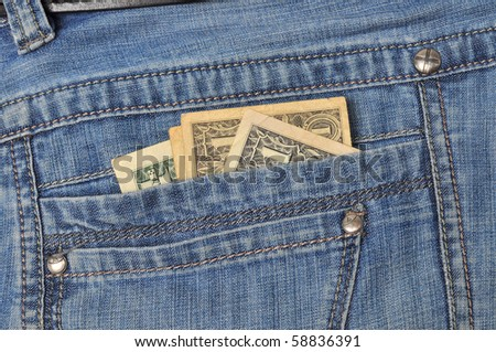 Money in jeans pocket - stock photo