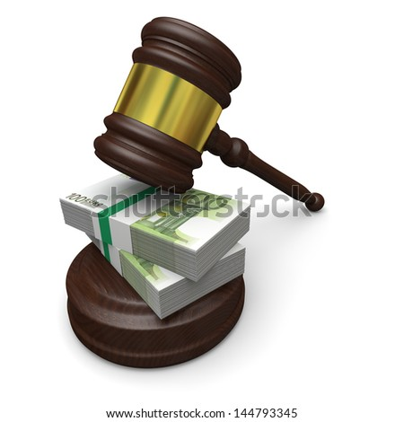Money in justice, concept of high legal fees, corruption of financial law - stock photo