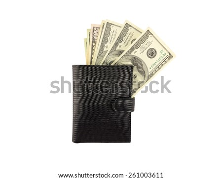 Money in leather purse nintendo isolated on white background - stock photo