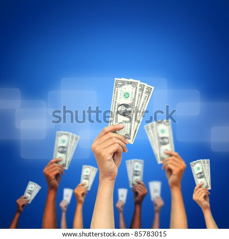 money in many hands - stock photo