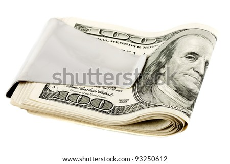 Money in money clip on the white background - stock photo