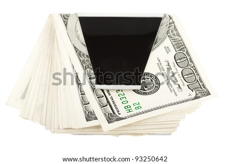 Money in money clip on the white background