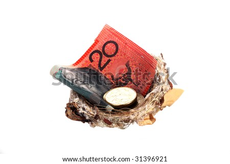 Money in nest, notes and coins - stock photo