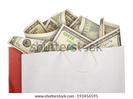 Money in paper bag isolated on white background