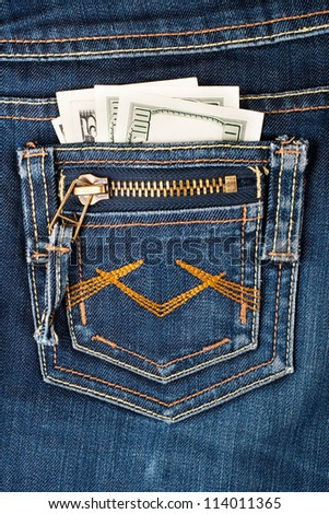 Money in pocket - stock photo