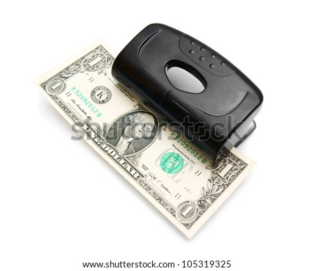 Money in puncher. On a white background.