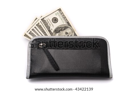 Money in purse on the white background