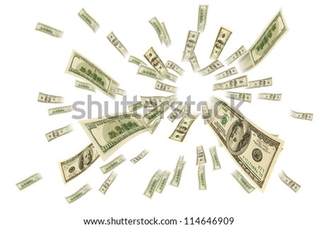 Money in the air. - stock photo
