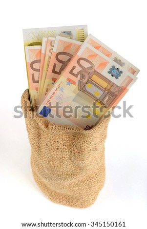 Money in the bag isolated on a white background, 50 Euro banknotes - stock photo