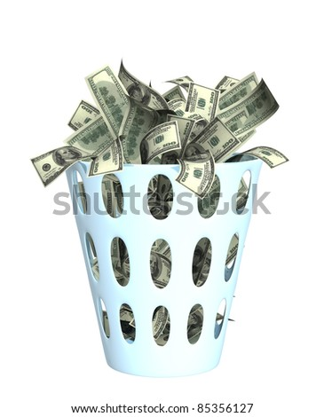 Money in the bin. Object isolated over white - stock photo