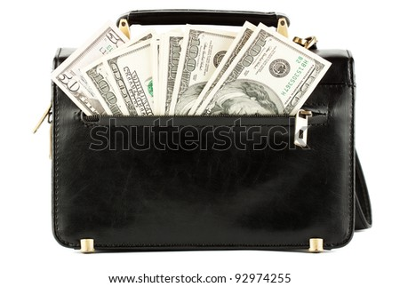 Money in the black bag on the white background - stock photo