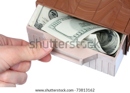 Money in the box isolated on white