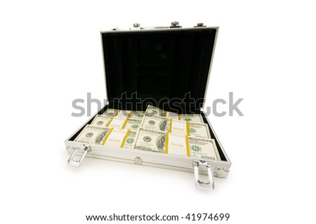 Money in the case isolated on white - stock photo