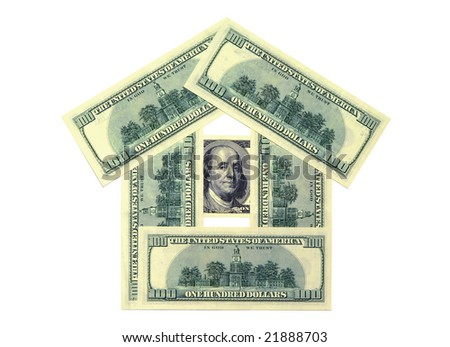 Money in the form of a small house.