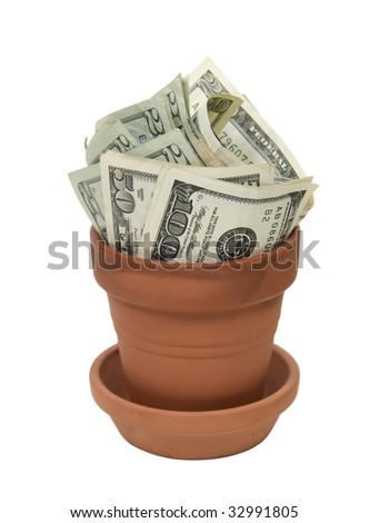 Money in the form of many large bills growing in a clay pot - path included