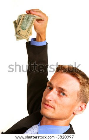 Money in the hand of the businessman isolated on white - stock photo