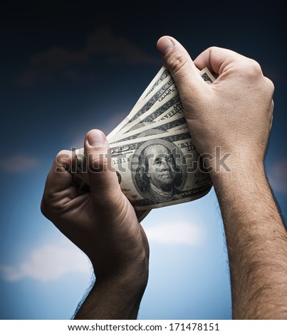 Money in the hands - stock photo