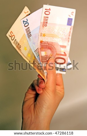 money in the hands. money in the girls hands. european currency. - stock photo