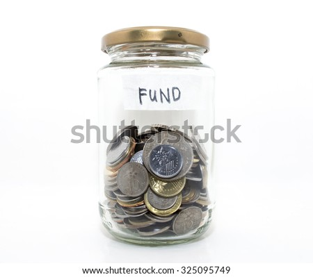 Money in the jar glass with white background