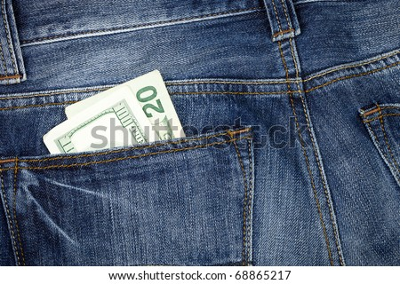 Money in the jeans pocket - stock photo