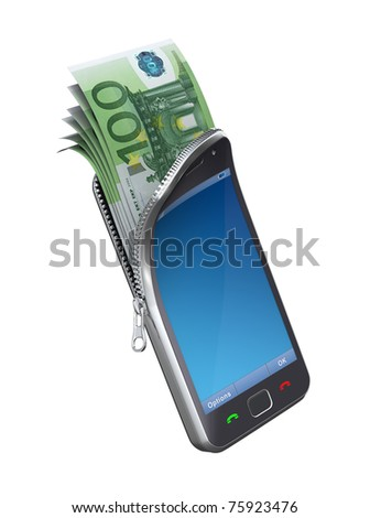 Money in the mobile phone - stock photo