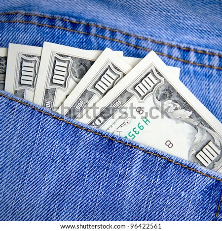 Money in the pocket of jeans