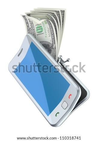 "Money in the ""smarphone purse"" - stock photo"