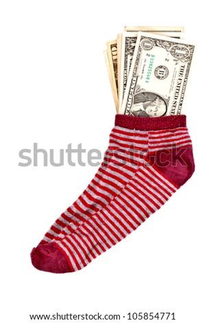 Money in the sock - stock photo
